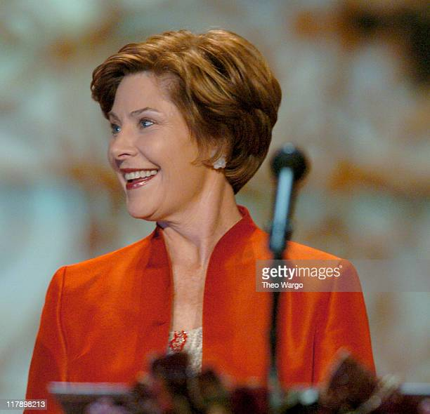First Lady Laura Bush during TNT's 'Christmas in Washington' Concert Show and Audience at The National Building Museum in Washington DC United States