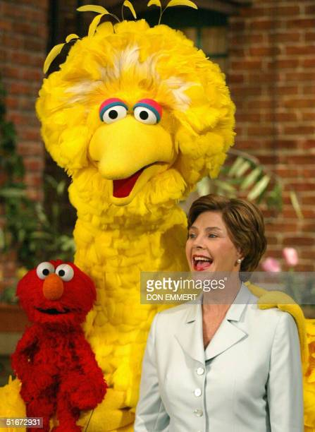 First Lady Laura Bush laughs with Big Bird and Elmo 19 September 2002 while taping a show of Sesame Street in New York Mrs Bush was on the set of...
