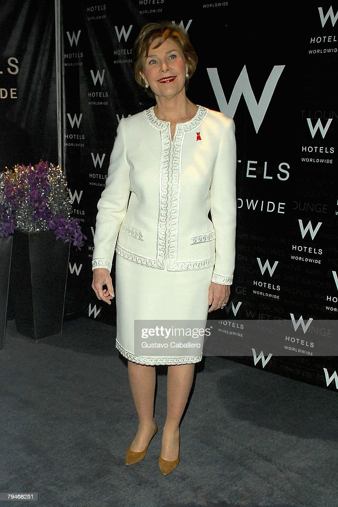First Lady Laura Bush stands backstage at the fashion tents in Bryant Park during Mercedes-Benz Fashion Week Fall 2008 on February 1, 2008 in New York City.