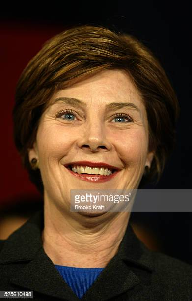 First Lady Laura Bush visits Samuel W Tucker Elementary School in Alexandria Virginia with President George W Bush The school is raising money for...
