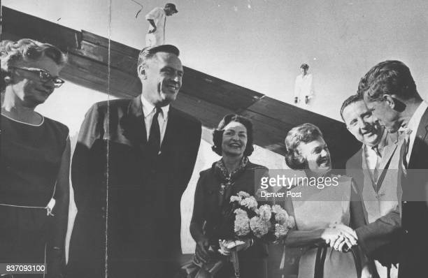 First Lady Makes Brief Stop in Denver From left Mrs John Love Gove Love Mrs Johnson Mrs Tom Currigan Mayor Currigan Sen Gale McGee DWyo and Interior...
