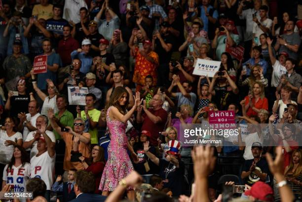 S first lady Melania Trump acknowledges the crowd after a rally at the Covelli Centre on July 25 2017 in Youngstown Ohio The rally coincides with the...