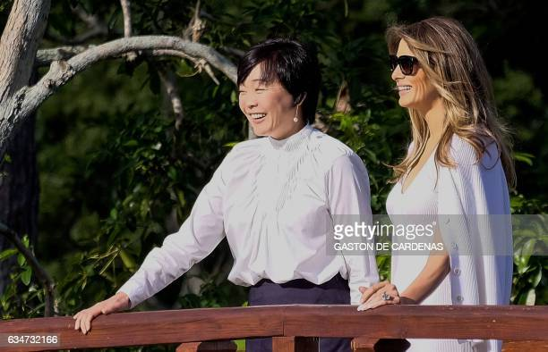US First Lady Melania Trump and Akie Abe wife of Japanese Prime Minister Shinzo Abe tour Morikami Museum and Japanese Gardens in Delray Beach Florida...