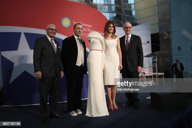 S first lady Melania Trump and Director of the National Museum of American History John Gray fashion designer Herve Pierre and Secretary of the...
