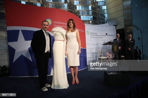 S first lady Melania Trump and fashion designer Herve Pierre attend an event at the Smithsonian National Museum of American History where the first...