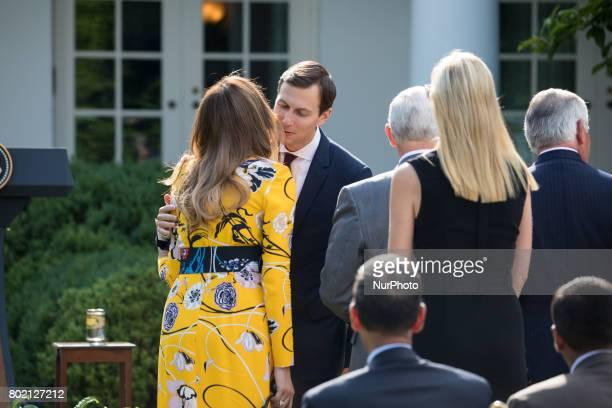 First Lady Melania Trump and Jared Kushner Senior Advisor to President Trump speak before President Donald Trump and Prime Minister Narendra Modi of...