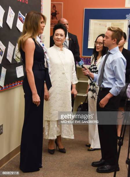 US First Lady Melania Trump and People's Republic of China First Lady Peng Liyuan visit the Bak Middle School of the Arts in West Palm Beach Florida...