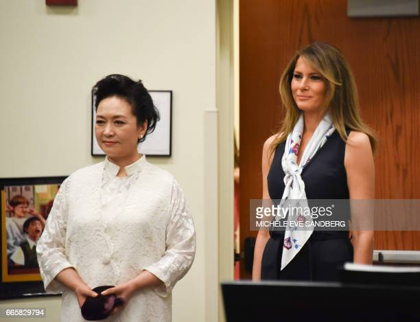 US First Lady Melania Trump and People's Republic of China First Lady Peng Liyuan visit the Bak Middle School of the Arts in West Palm Beach on April...