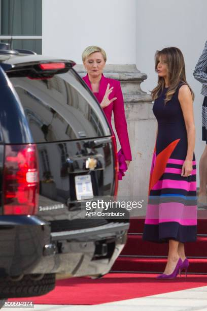 First Lady Melania Trump and Polish President' s wife Agata KornhauserDuda meet at the Belvedere Palace in Warsaw on July 6 2017 US President Donald...