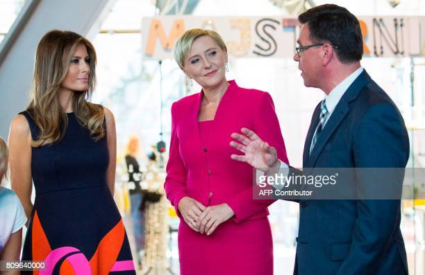 First Lady Melania Trump and Polish President's wife Agata KornhauserDuda visit Copernicus Science Center in Warsaw on July 6 2017 US President...