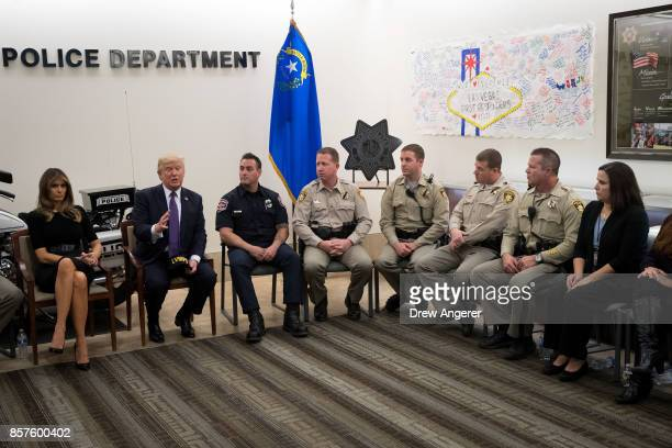 First lady Melania Trump and President Donald Trump meet with police officers at Las Vegas Metropolitan Police Department headquarters October 4 2017...