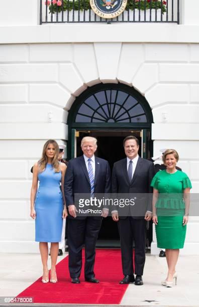 First Lady Melania Trump and President Donald Trump welcomed President Juan Carlos Varela and Mrs Lorena Castillo Varela of Panama at the South...