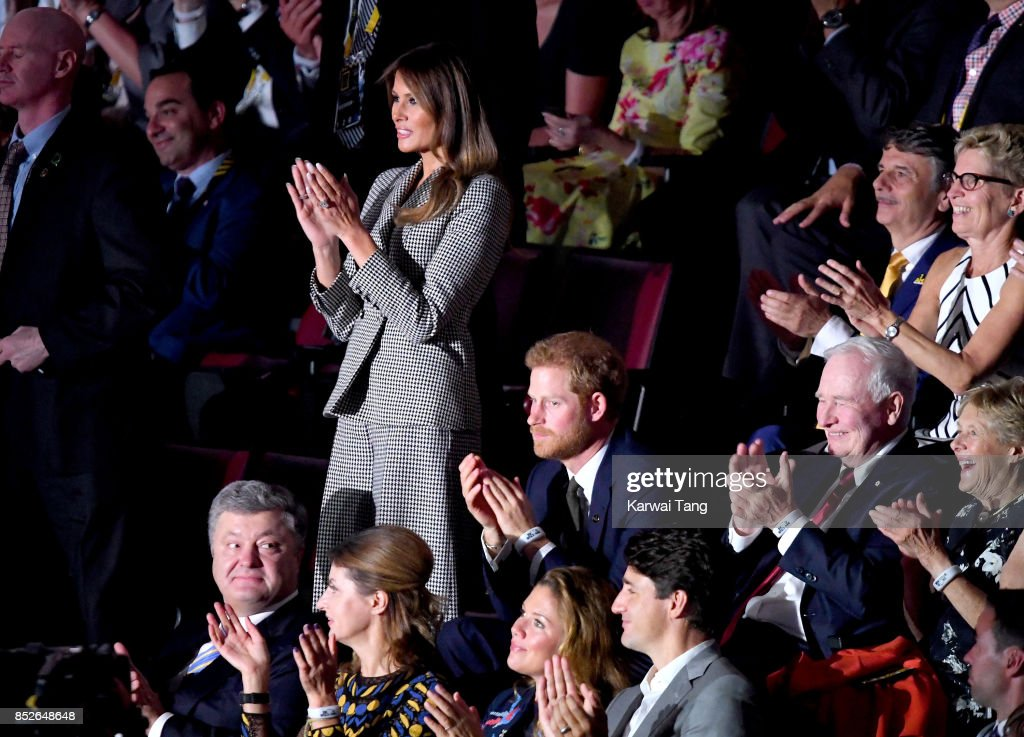 U.S. First Lady Melania Trump (L) and Prince Harry attend the opening ceremony on day 1 of the Invictus Games Toronto 2017 at Air Canada Centre on September 23, 2017 in Toronto, Canada. The Games use the power of sport to inspire recovery, support rehabilitation and generate a wider understanding and respect for the Armed Forces