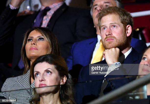 US First Lady Melania Trump and Prince Harry attend the opening ceremony on day 1 of the Invictus Games Toronto 2017 at Air Canada Centre on...