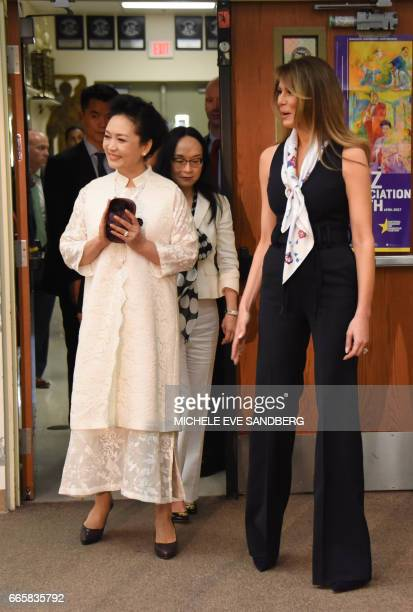 US First Lady Melania Trump and the People's Republic of China First Lady Peng Liyuan visits the Bak Middle School of the Arts in Palm Beach Florida...