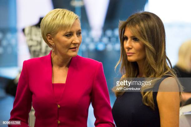 US First Lady Melania Trump and the Polish President's wife Agata KornhauserDuda talk as they visit the Copernicus Science Center in Warsaw on July 6...