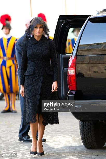 First Lady Melania Trump arrives at the Apostolic Palace for an audience with Pope Francis on May 24 2017 in Vatican City Vatican The president will...