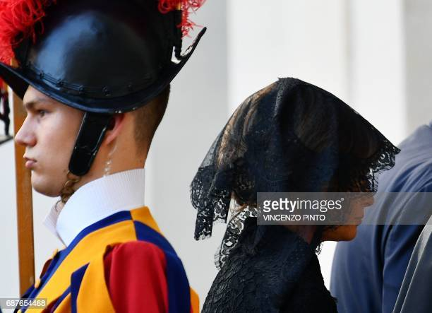 US First Lady Melania Trump arrives at the Vatican prior a private audience of US President Donald Trump with Pope Francis on May 24 2017 US...