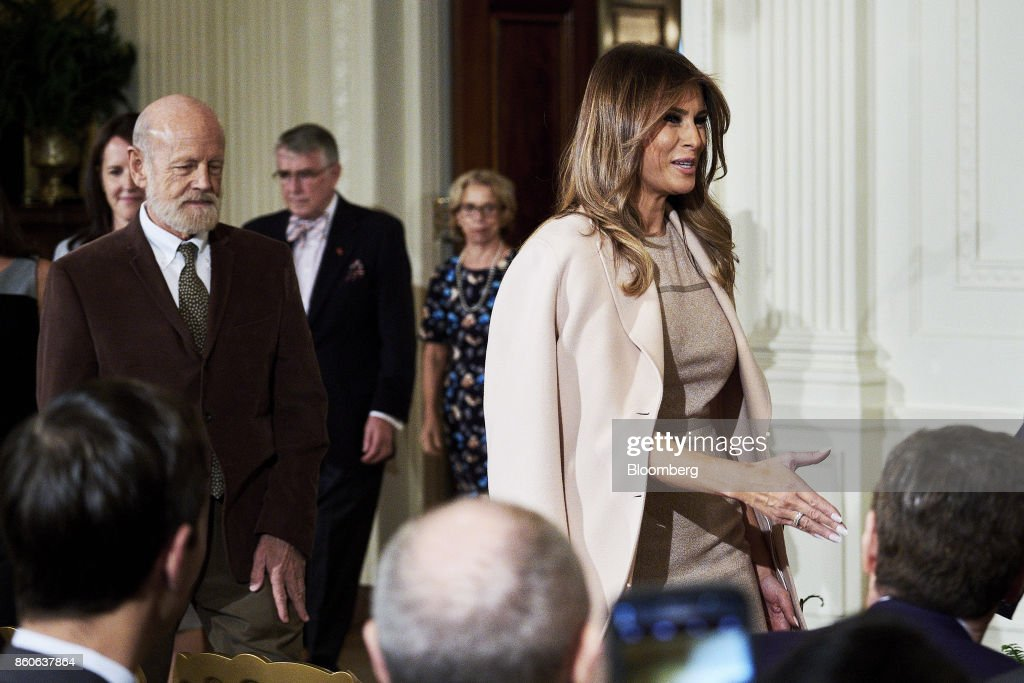U.S. First Lady Melania Trump arrives before U.S. President Donald Trump, not pictured, introduces Kirstjen Nielsen, U.S. secretary of Homeland Security nominee, not pictured, during an event at the White House in Washington, D.C., U.S., on Thursday, Oct. 12, 2017. Trump announced his nomination of Nielsen, a top aide to White House Chief of Staff John Kelly, to succeed him as secretary of Homeland Security. Photographer: T.J. Kirkpatrick/Bloomberg via Getty Images
