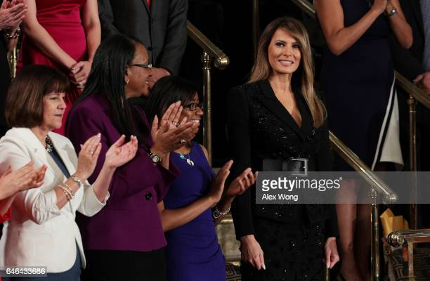 First lady Melania Trump arrives to a joint session of the US Congress with US President Donald Trump on February 28 2017 in the House chamber of the...