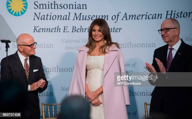 US First Lady Melania Trump arrives to donate the gown she wore to the 2017 inaugural balls alongside Smithsonian Director David Skorton and National...