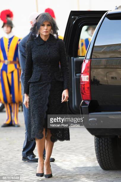US First Lady Melania Trump arrives to meet Pope Francis on May 24 2017 in Vatican City Vatican