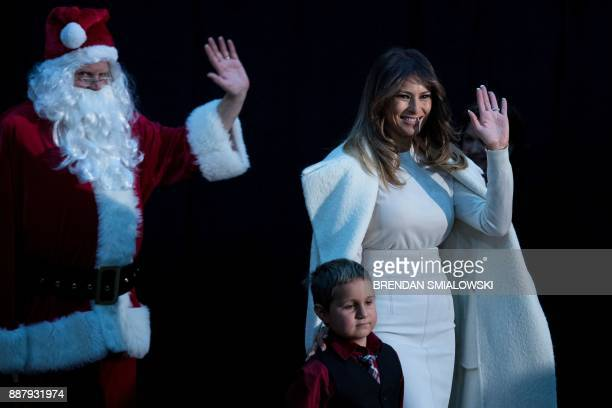 US first lady Melania Trump arrives to read to patients at Children's National Medical Center December 7 2017 in Washington DC / AFP PHOTO / Brendan...