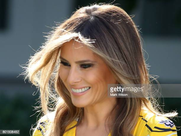 First lady Melania Trump attends a joint statement between her huband US President Donald Trump and Indian Prime Minister Narendra Modi in the Rose...