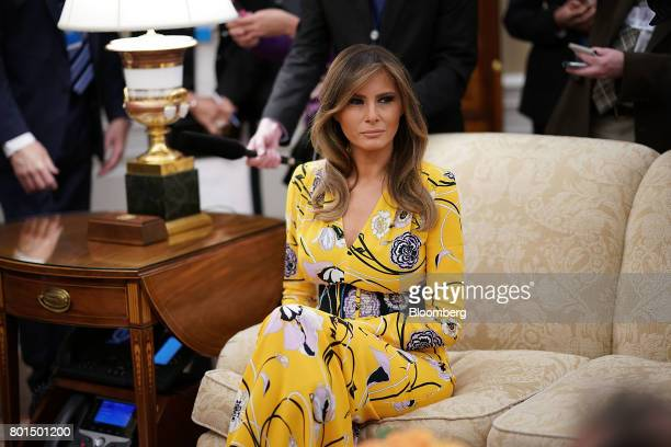 US First Lady Melania Trump attends a meeting with President Donald Trump and Narendra Modi India's prime minister not pictured in the Oval Office of...