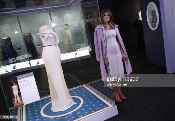 S first lady Melania Trump attends an event at the Smithsonian National Museum of American History where the first lady donated her inaugural gown to...