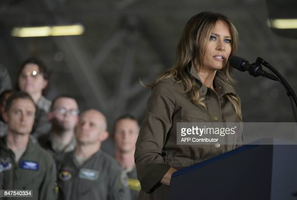 US First Lady Melania Trump introduces US President Donald Trump before an address to military personnel and families at Andrews Air Force Base in...