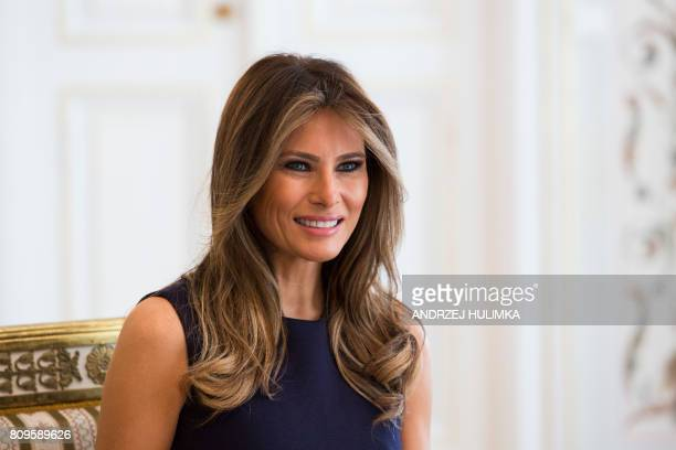 First Lady Melania Trump is pictured during a meeting with Polish President's wife Agata KornhauserDuda at the Belvedere Palace in Warsaw on July 6...
