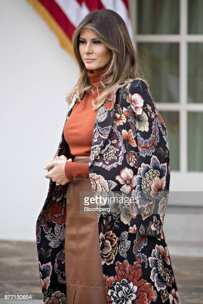 US First Lady Melania Trump listens as US President Donald Trump not pictured speaks before pardoning the National Thanksgiving Turkey Drumstick...