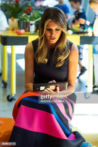 US First Lady Melania Trump looks on as she visits the Copernicus Science Center with the Polish President's wife in Warsaw on July 6 2017 US...