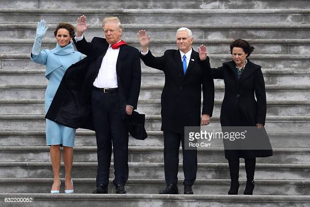 First Lady Melania Trump President Donald Trump Vice President Mike Pence and Karen Pence wave goodbye to Barack and Michelle Obama on the West Front...