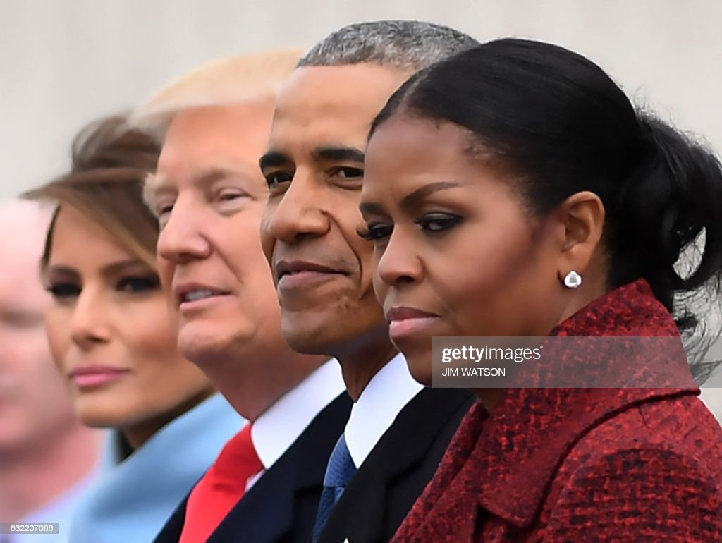 First Lady Melania Trump, President Donald Trump,former President Barack Obama, Michelle Obama at the US Capitol after inauguration ceremonies at the in Washington, DC, on January 20, 2017. /