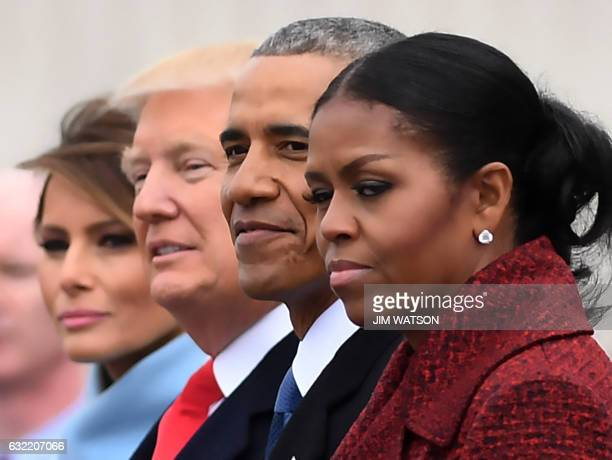 First Lady Melania Trump President Donald Trumpformer President Barack Obama Michelle Obama at the US Capitol after inauguration ceremonies at the in...