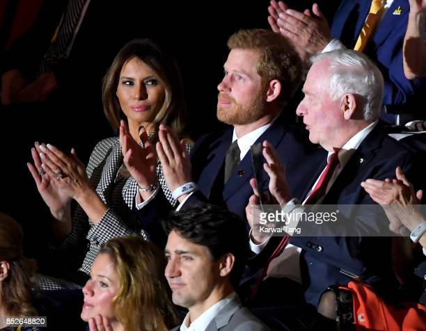 US First Lady Melania Trump Prince Harry Sophie Grégoire Trudeau and Canadian Prime Minister Justin Trudeau attend the opening ceremony on day 1 of...