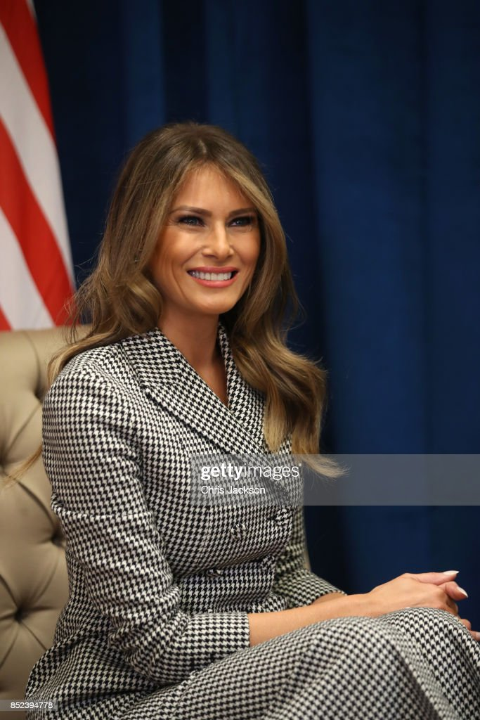 U.S. first lady Melania Trump smiles as she meets with Prince Harry for the first time while leading the USA team delegation ahead of the Invictus Games 2017 on September 23, 2017 in Toronto, Canada