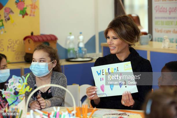 First Lady Melania Trump Visits the Paediatric Hospital Bambin Gesù on May 24 2017 Rome Italy