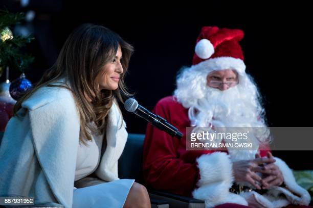 US first lady Melania Trump waits to read to patients at Children's National Medical Center December 7 2017 in Washington DC / AFP PHOTO / Brendan...