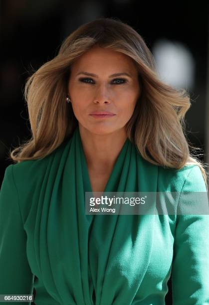 S first lady Melania Trump walks through the White House West Colonnade prior to a joint news conference April 5 2017 in Washington DC President...