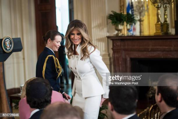 First lady Melania Trump walks to her seat before a press conference in the East Room of the White House in Washington DC on Wednesday Feb 15 2017