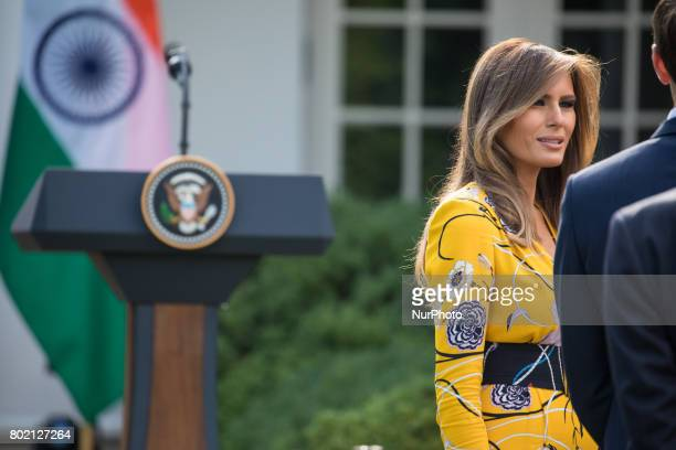 First Lady Melania Trump was present for President Donald Trump and Prime Minister Narendra Modi of India's joint press conference in the Rose Garden...