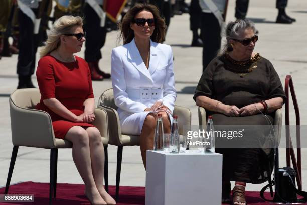 US first Lady Melania Trump wife of Israeli Prime Minister Netanyahu and Nehama Rivlin wife of Israeli President during an official welcoming...