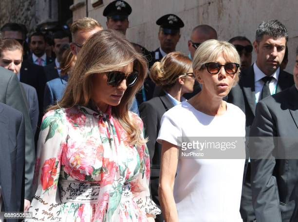 US First Lady Melania Trump with France's First Lady Brigitte Trogneux during the second day of G7 Taormina summit on the island of Sicily in...