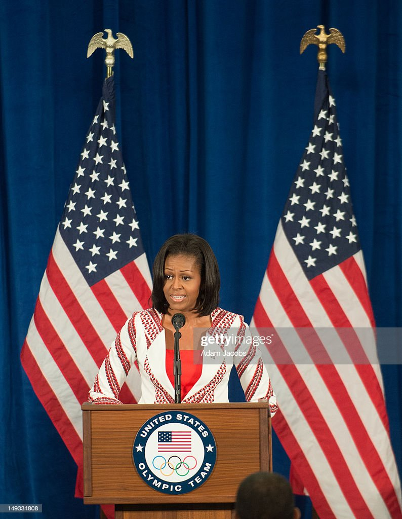 First Lady <a gi-track='captionPersonalityLinkClicked' href=/galleries/search?phrase=Michelle+Obama&family=editorial&specificpeople=2528864 ng-click='$event.stopPropagation()'>Michelle Obama</a> addresses members of the 2012 Team USA at the University of East London on July 27, 2012 in London, England. <a gi-track='captionPersonalityLinkClicked' href=/galleries/search?phrase=Michelle+Obama&family=editorial&specificpeople=2528864 ng-click='$event.stopPropagation()'>Michelle Obama</a> addressed members of the 2012 Team USA as leader of the US Olympics delegation, ahead of opening ceremony for the Olympics.