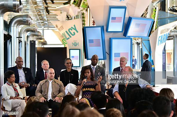 US First Lady Michelle Obama adresses journalists in the US pavilion at the World Expo in Milan on June 18 2015 US First Lady Michelle Obama arrived...