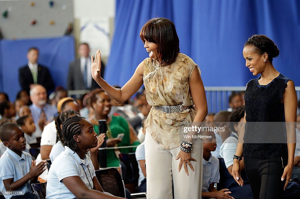 U.S. first lady Michelle Obama and actress <a gi-track='captionPersonalityLinkClicked' href=/galleries/search?phrase=Kerry+Washington&family=editorial&specificpeople=201534 ng-click='$event.stopPropagation()'>Kerry Washington</a> arrive for an event while visiting the Savoy School May 24, 2013 in Washington, DC. The Savoy School, once one of the lowest performing schools in the District of Columbia, has shown significant signs of improvement since being designated as one of eight schools selected last year for the Turnaround Arts Initiative by the President's Committee on the Arts and the Humanities.