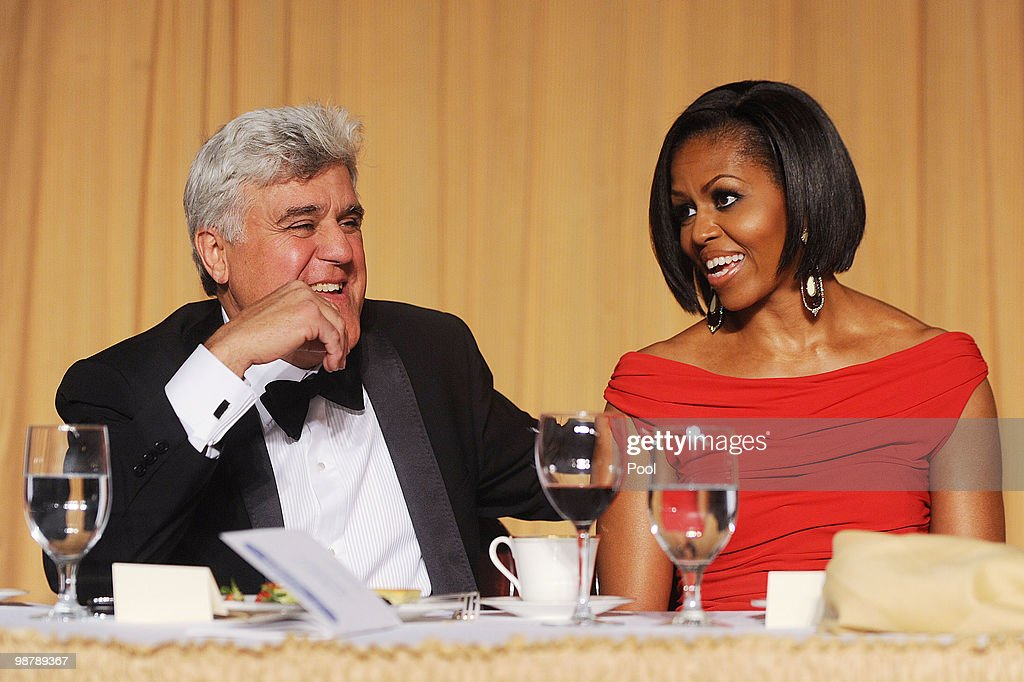 First Lady Michelle Obama and comedianJay Leno during the White House Correspondents' Association Dinner at the Washington Hilton May 1 2010 in...